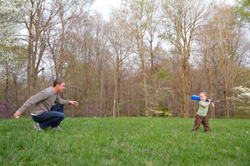 Dad pitches to his son