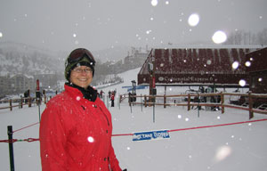 The transformation to happiness as we engage in activities we love - Ann Strong skiing Beaver Creek, Colorado.